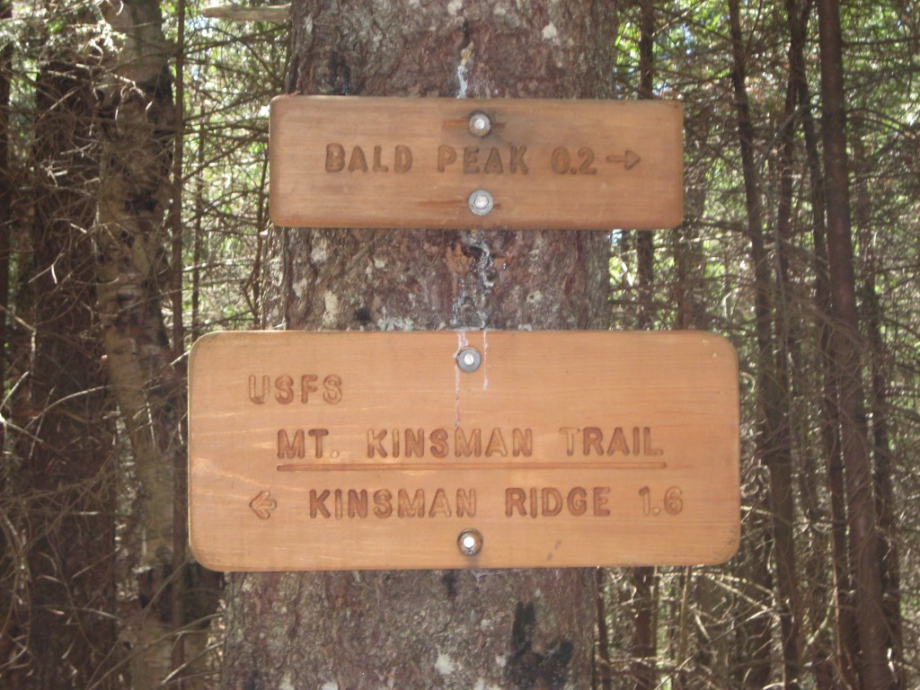 Bald Peak trail sign