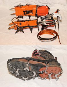 Top: Crampons Bottom: Microspikes