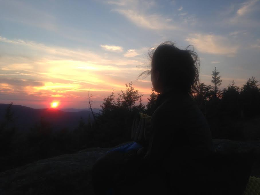 View from Bald Peak in the White Mountains at sunset