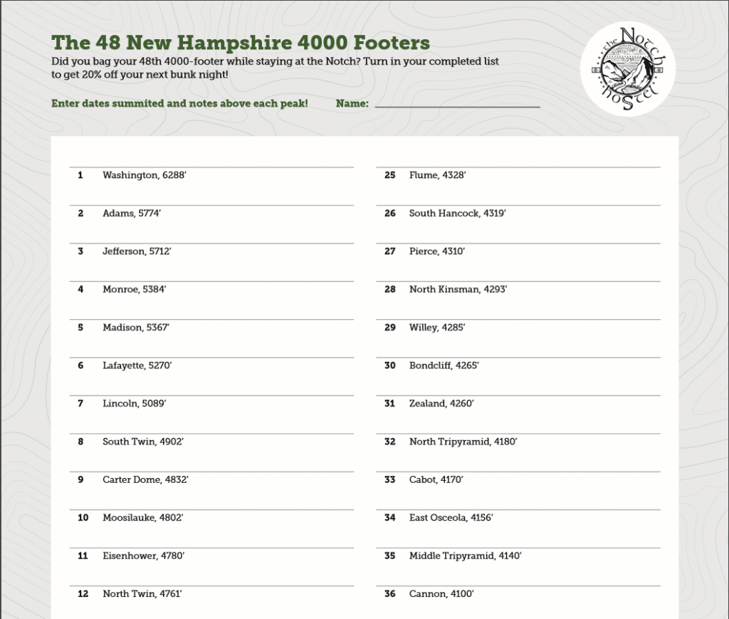 A preview of the 4000-footer tracking sheet available.