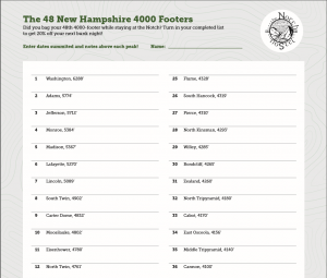 "The AMC Four Thousand Footer Club awards hikers who complete ""The 48"" - summitting all 48 of NH's peaks above 4000 feet of elevation. Check out our tracking sheet!"