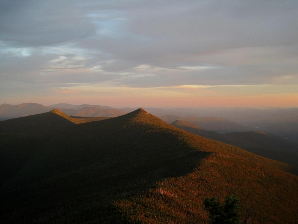 Looking at Mounts Liberty and Flume from an outlook just south of Little Haystack's summit.