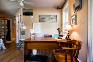 Reception area at The Notch Hostel, White Mountains, NH