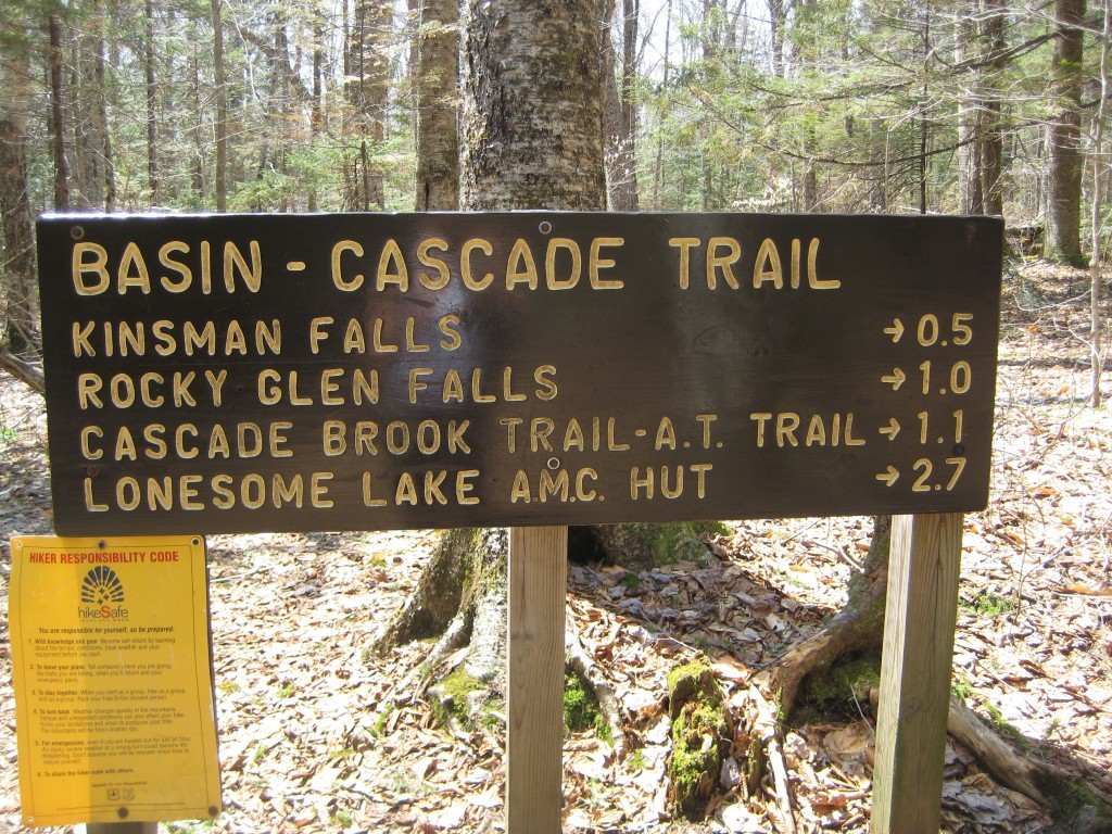 Basin-Cascade Trail sign