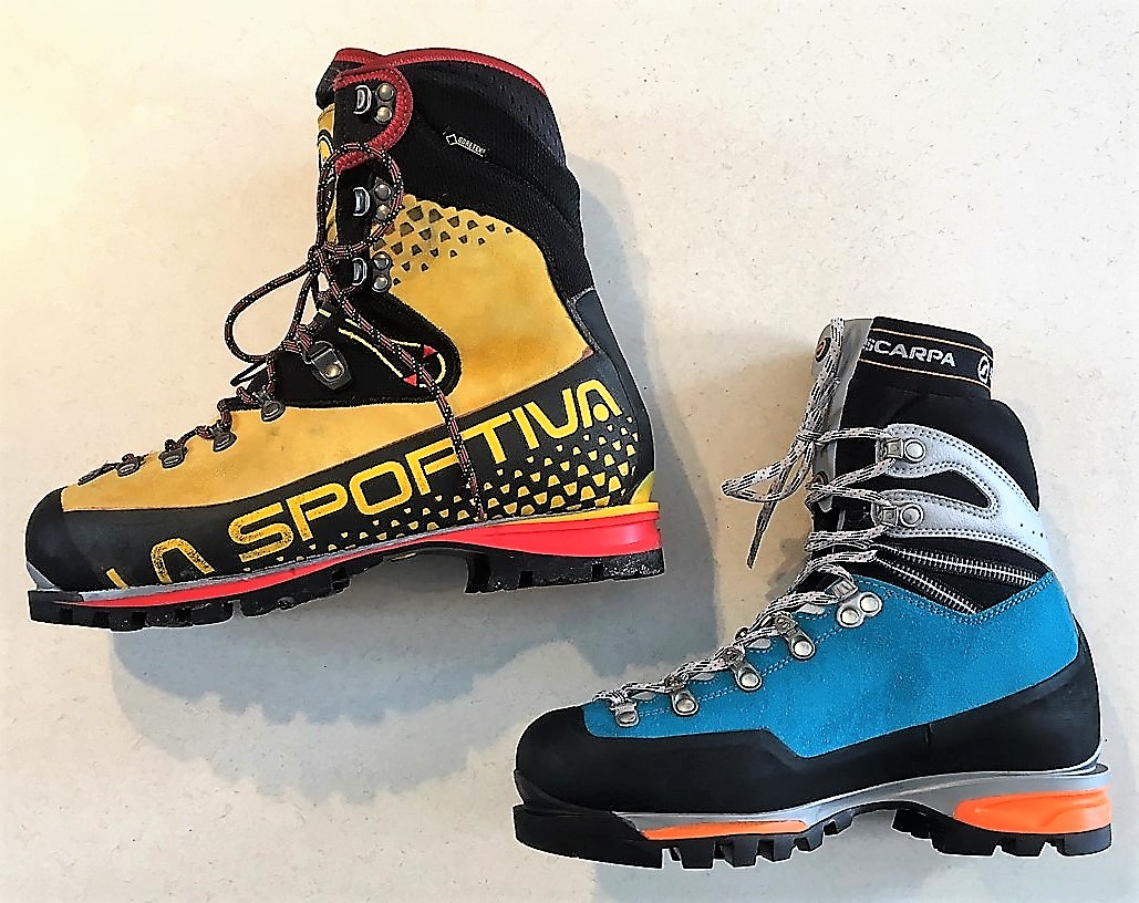 Mountaineering boots: La Sportiva Cube (left), Scarpa Mont Blanc Pro GTX with integrated gaiter (right).