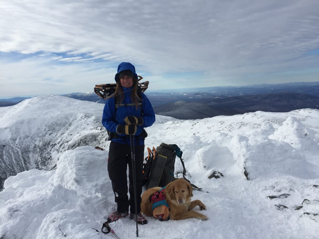 Caitlin Quinn and her hiking companion Vaida on the summit of Mt. Adams.
