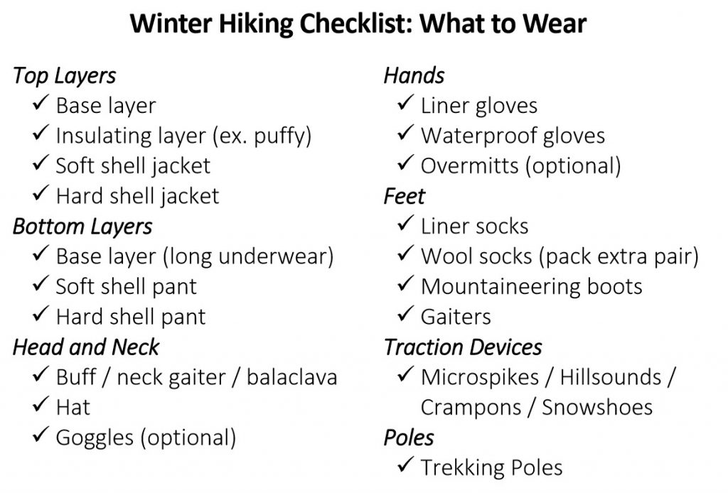 Winter hiking checklist: what to wear. Base layer, insulating layer (ex. puffy), soft shell, hard shell jacket and pants, buff/neck gaiter/balaclava, hat, goggles, liner gloves, waterproof gloves, overmitts, liner socks, wool socks, mountaineering boots, gaiters, Traction - microspikes, hillsounds, crampons, snowshoes, trekking poles