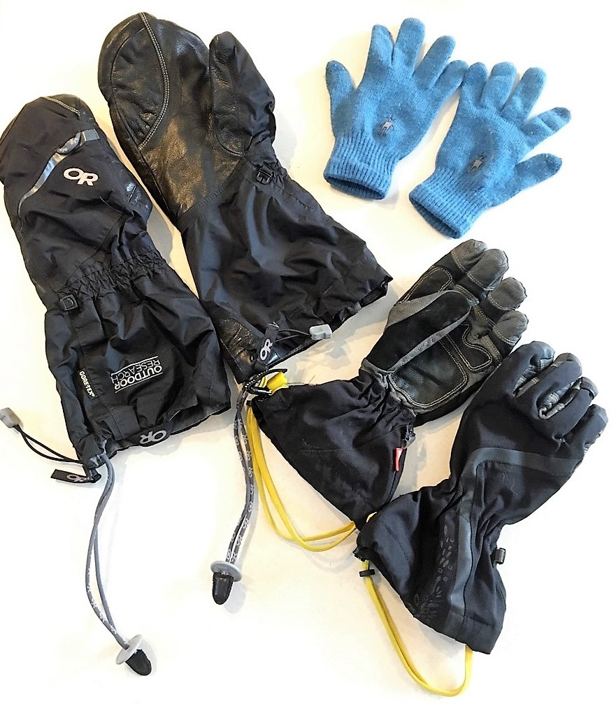 Liner gloves, waterproof gloves, overmitts.