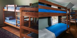 Bunk rooms at The White Mountains Hostel in Conway (left) and The Rattle River Hostel in Gorham (right).