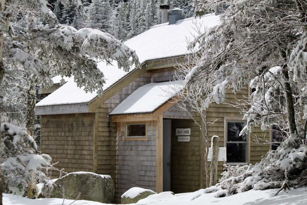 Gray Knob Cabin in winter.